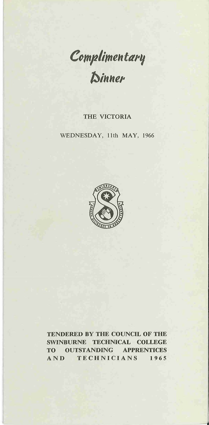 f81a6682 Complimentary Dinner Programme, 11th May 1966 | Swinburne University ...